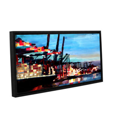 Brushstone Hamburg Harbour with Container Ship Gallery Wrapped Floater-Framed Canvas Wall Art