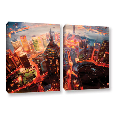 Brushstone Shanghai Skyline at Dusk 2-pc. GalleryWrapped Canvas Wall Art