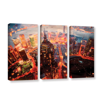 Brushstone Shanghai Skyline at Dusk 3-pc. GalleryWrapped Canvas Wall Art