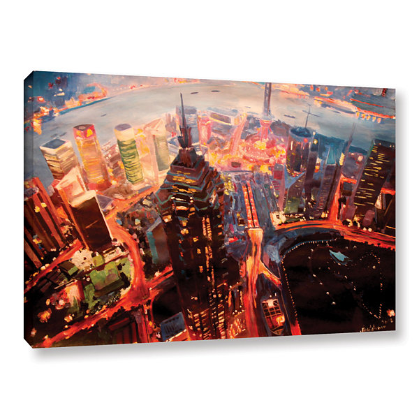 Brushstone Shanghai Skyline at Dusk Gallery Wrapped Canvas Wall Art