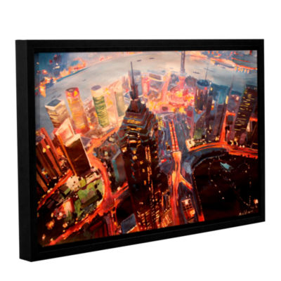 Brushstone Shanghai Skyline at Dusk Gallery Wrapped Floater-Framed Canvas Wall Art