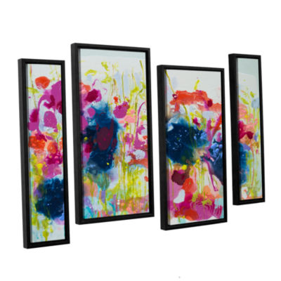 Brushstone July Heat 4-pc. Floater Framed Staggered Canvas Wall Art