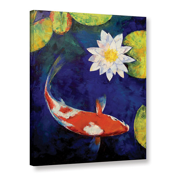 Brushstone Kohaku Koi and Water Lily Gallery Wrapped Canvas Wall Art