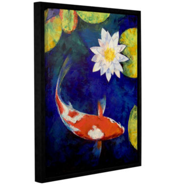 Brushstone Kohaku Koi and Water Lily Gallery Wrapped Floater-Framed Canvas Wall Art