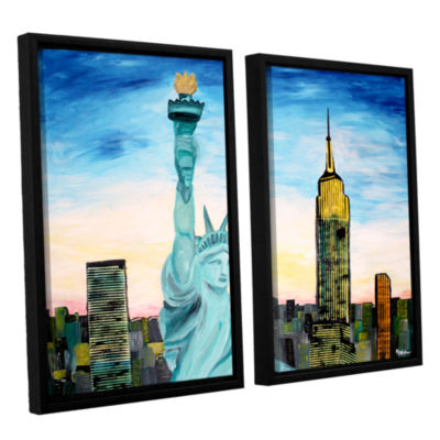 Brushstone Statue of Liberty with view of Mew York2-pc. Floater Framed Canvas Wall Art