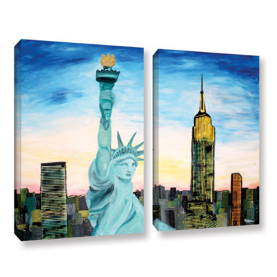 Brushstone Statue of Liberty with view of Mew York2-pc. Gallery Wrapped Canvas Wall Art