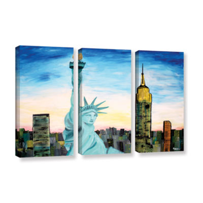 Brushstone Statue of Liberty with view of Mew York3-pc. Gallery Wrapped Canvas Wall Art