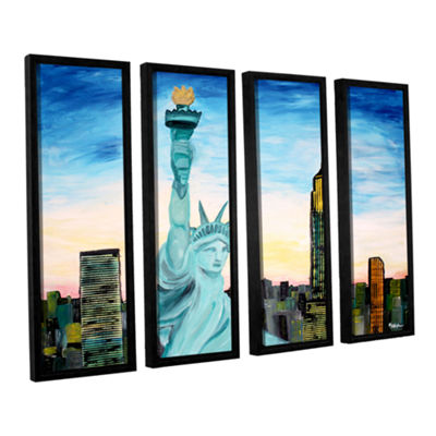 Brushstone Statue of Liberty with view of Mew York4-pc. Floater Framed Canvas Wall Art