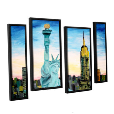 Brushstone Statue of Liberty with view of Mew York4-pc. Floater Framed Staggered Canvas Wall Art
