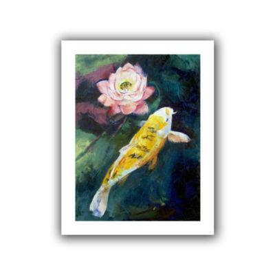 Brushstone Koi and Lotus Canvas Wall Art
