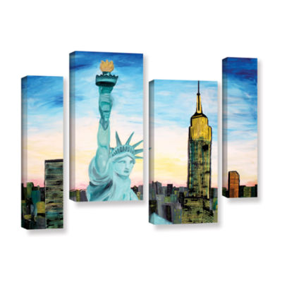 Brushstone Statue of Liberty with view of Mew York4-pc. Gallery Wrapped Staggered Canvas Wall Art