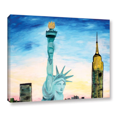 Brushstone Statue of Liberty with view of Mew YorkGallery Wrapped Canvas Wall Art
