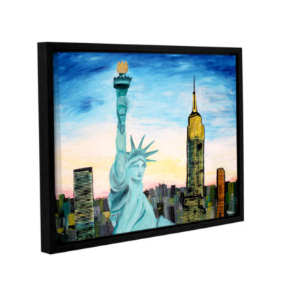 Brushstone Statue of Liberty with view of Mew YorkGallery Wrapped Floater-Framed Canvas Wall Art