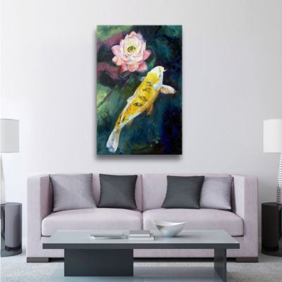 Brushstone Koi and Lotus Gallery Wrapped Canvas Wall Art