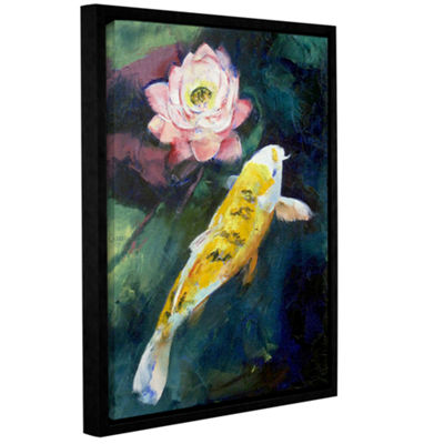 Brushstone Koi and Lotus Gallery Wrapped Floater-Framed Canvas Wall Art