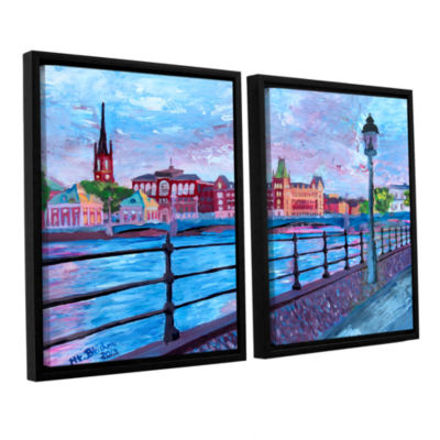 Brushstone Stockholm City View 2-pc. Floater Framed Canvas Wall Art