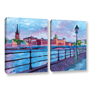 Brushstone Stockholm City View 2-pc. Gallery Wrapped Canvas Wall Art