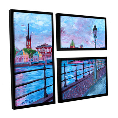 Brushstone Stockholm City View 3-pc. Flag Floater-Framed Canvas Wall Art
