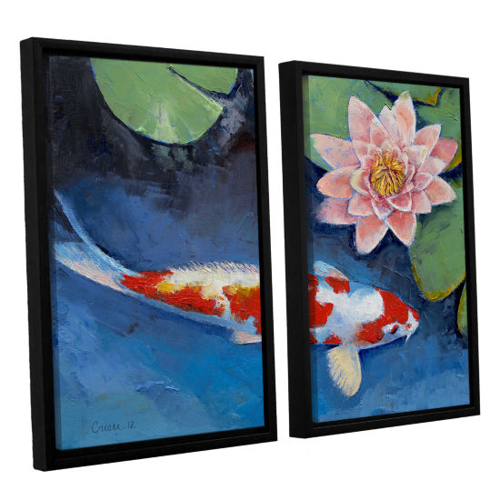Brushstone Koi and Water Lily 2-pc. Floater FramedCanvas Wall Art