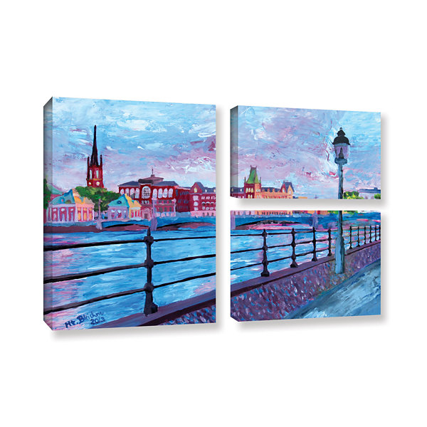 Brushstone Stockholm City View 3-pc. Flag Gallery Wrapped Canvas Wall Art