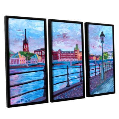 Brushstone Stockholm City View 3-pc. Floater Framed Canvas Wall Art