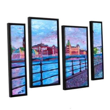 Brushstone Stockholm City View 4-pc. Floater Framed Staggered Canvas Wall Art