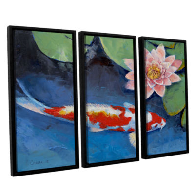 Brushstone Koi and Water Lily 3-pc. Floater FramedCanvas Wall Art