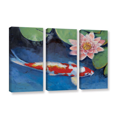 Brushstone Koi and Water Lily 3-pc. Gallery Wrapped Canvas Wall Art