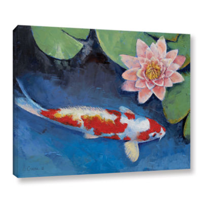 Brushstone Koi and Water Lily Gallery Wrapped Canvas Wall Art