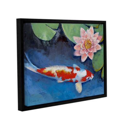Brushstone Koi and Water Lily Gallery Wrapped Floater-Framed Canvas Wall Art