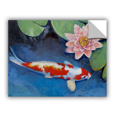 Brushstone Koi and Water Lily Removable Wall Decal