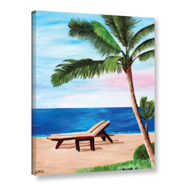 Brushstone Strand Chairs on Caribbean Beach Gallery Wrapped Canvas Wall Art