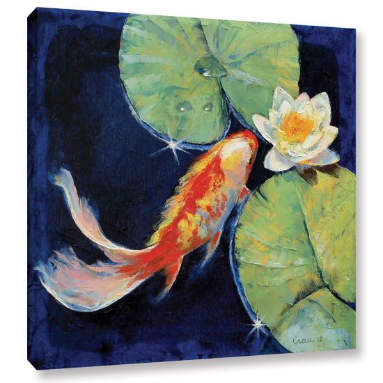 Brushstone Koi and White Lily Gallery Wrapped Canvas Wall Art