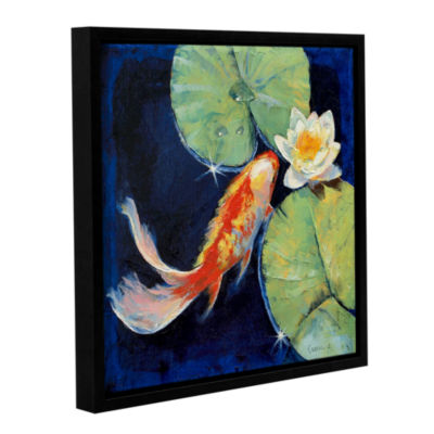 Brushstone Koi and White Lily Gallery Wrapped Floater-Framed Canvas Wall Art