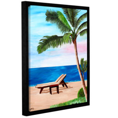 Brushstone Strand Chairs on Caribbean Beach Gallery Wrapped Floater-Framed Canvas Wall Art