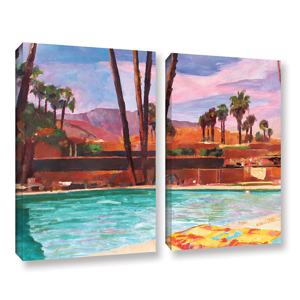 Brushstone The Palm Springs Pool 2-pc. Gallery Wrapped Canvas Wall Art