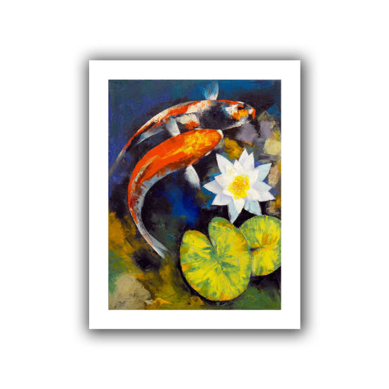 Brushstone Koi Fish and Water Lily Canvas Wall Art