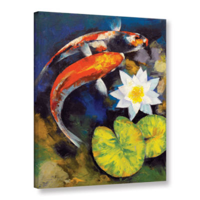 Brushstone Koi Fish and Water Lily Gallery WrappedCanvas Wall Art