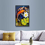 Brushstone Koi Fish and Water Lily Gallery WrappedFloater-Framed Canvas Wall Art