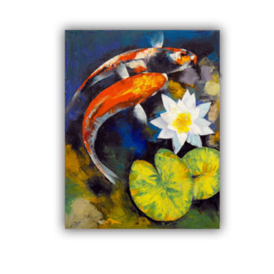 Brushstone Koi Fish and Water Lily Removable WallDecal