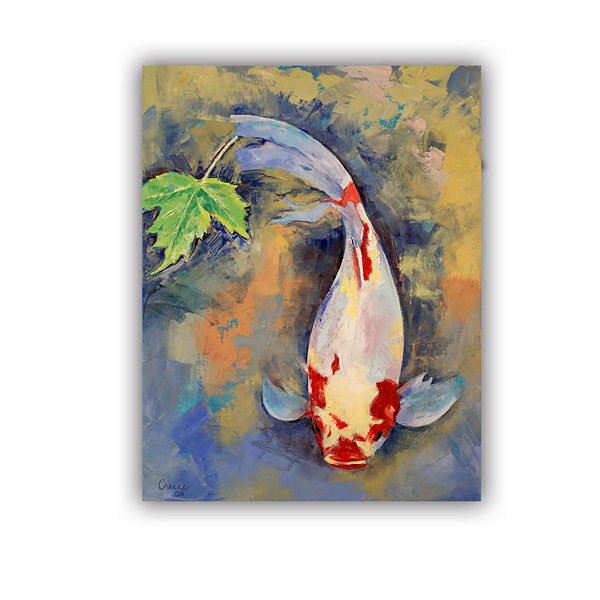 Brushstone Koi with Japanese Maple Leaf RemovableWall Decal