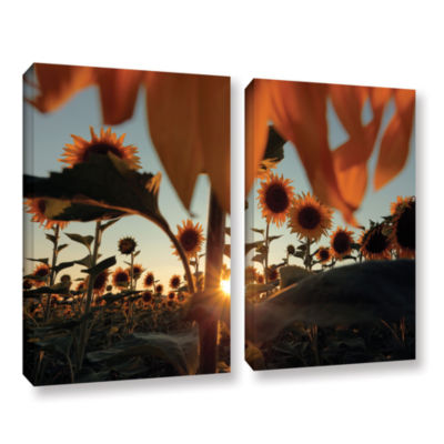 Brushstone Sunflower Field 2-pc. Gallery Wrapped Canvas Wall Art