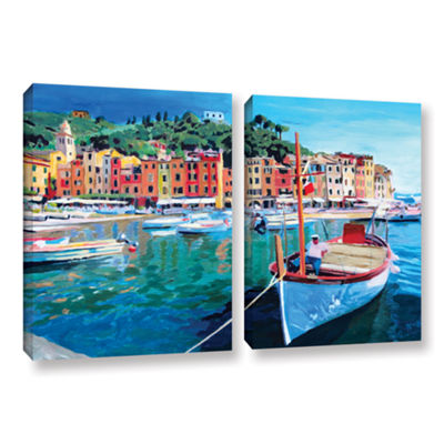 Brushstone Tranquility of the Harbour of Portofino2-pc. Gallery Wrapped Canvas Wall Art