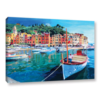 Brushstone Tranquility of the Harbour of PortofinoGallery Wrapped Canvas Wall Art