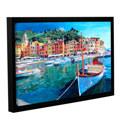 Brushstone Tranquility of the Harbour of PortofinoGallery Wrapped Floater-Framed Canvas Wall Art