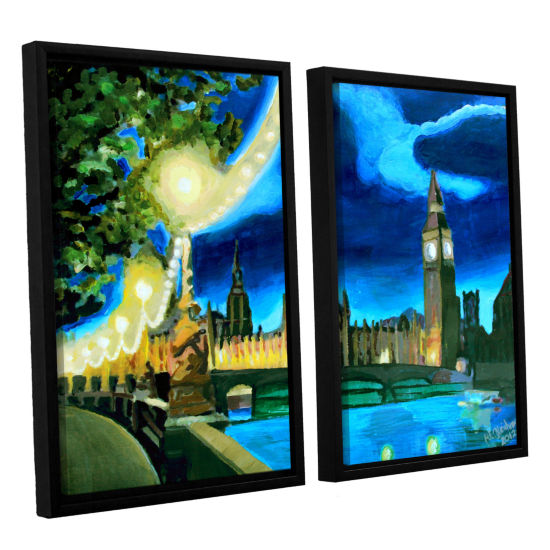 Brushstone London Big Ben and Parliament with Thames 2-pc. Floater Framed Canvas Wall Art