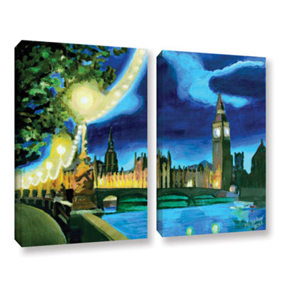 Brushstone London Big Ben and Parliament with Thames 2-pc. Gallery Wrapped Canvas Wall Art