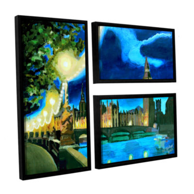Brushstone London Big Ben and Parliament with Thames 3-pc. Flag Floater Framed Canvas Wall Art