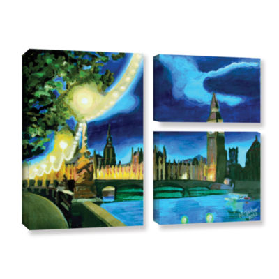 Brushstone London Big Ben and Parliament with Thames 3-pc. Flag Gallery Wrapped Canvas Wall Art