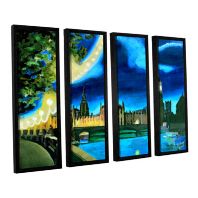 Brushstone London Big Ben and Parliament with Thames 4-pc. Floater Framed Canvas Wall Art